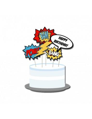 Decorazioni per torta comic cake toppers